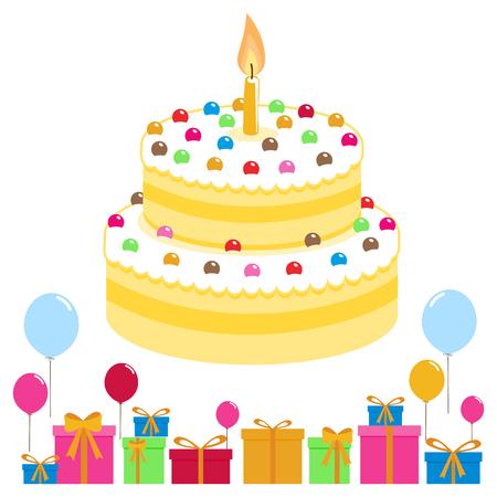 birthday presents: Birthday cake balloons and presents Illustration