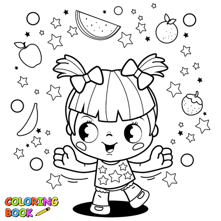 Cute little girl juggling fruit coloring book page