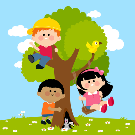 Children playing on a tree