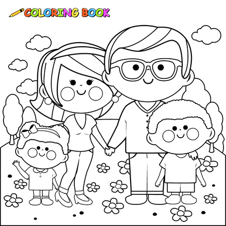 Happy family at the park coloring book page Illustration