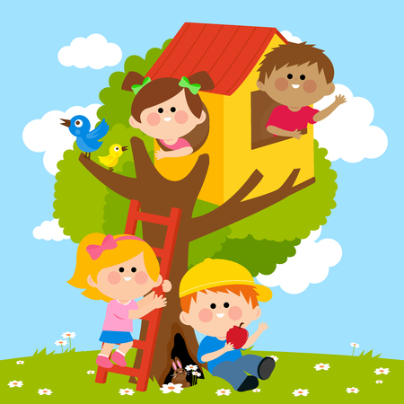 spring flower: Children playing in a tree house