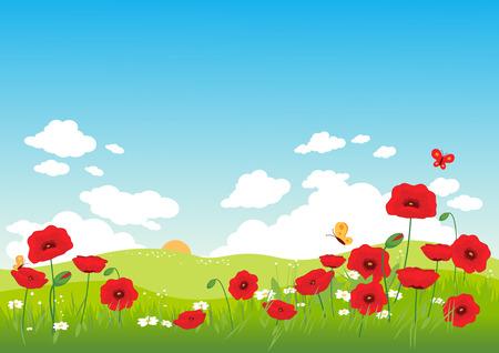 Paysage de printemps avec des coquelicots Vecteurs