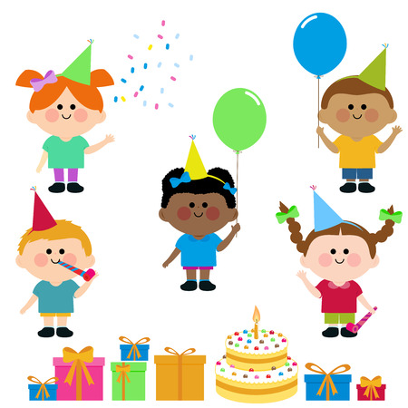 birthday presents: Children wearing party hats, balloons, boxes with presents and a birthday cake. Illustration