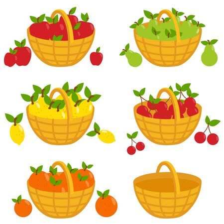 orchard fruit: Fruits in baskets: apples, pears, lemons, cherries, oranges