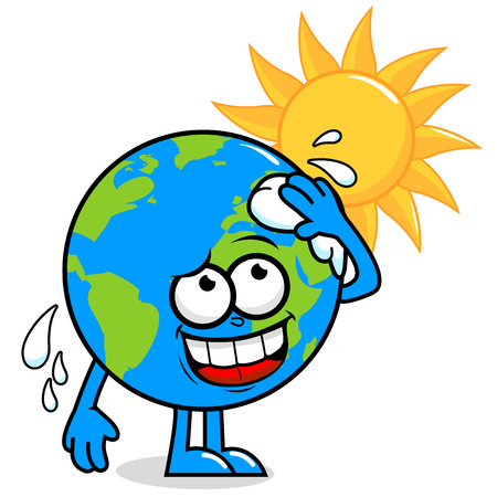wiping: Cartoon planet earth character in front of a burning sun wiping sweat and getting hot.