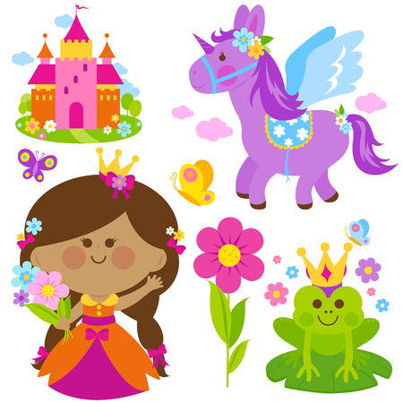 frog queen: Beautiful princess holding spring flowers, unicorn, a magical frog, castle and butterflies