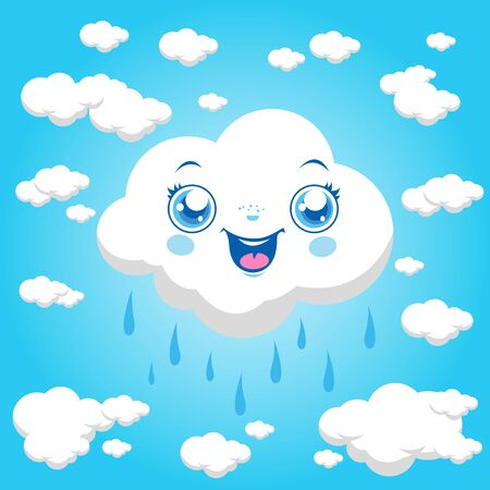 raining: Vector cartoon illustration of clouds raining at the sky.