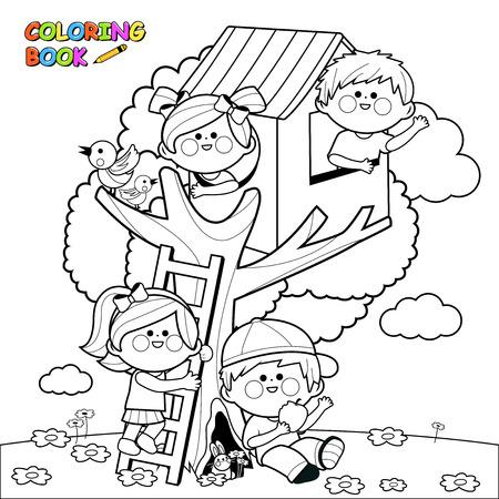 Dzieci bawiące się w domku na drzewie. Czarno-biały kolorowania strona