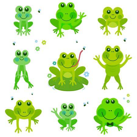 Frogs vector set Illustration