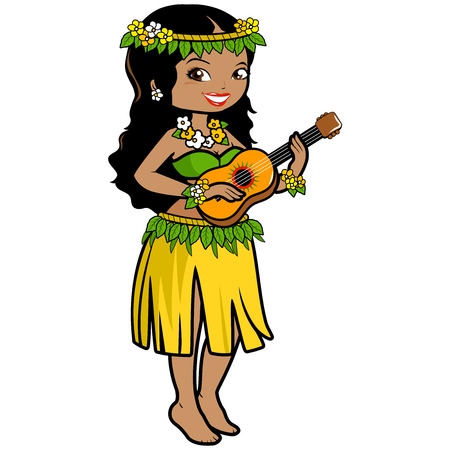 Hawaiian woman playing music with her guitar in a grass skirt and exotic flowers. Illustration