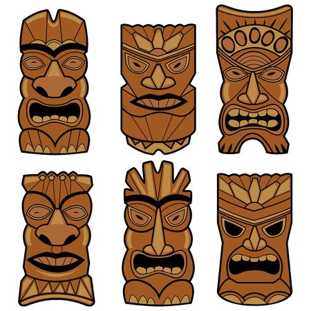 Hawaiian tiki statue masks