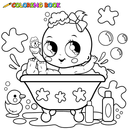 baby playing toy: Baby girl taking a bath. Coloring page