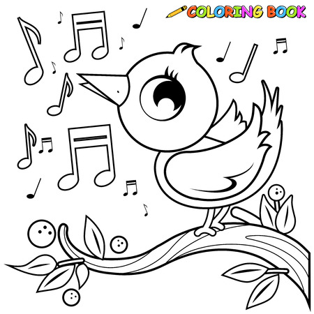birdsong: Cute bird on branch singing. Coloring book page Illustration