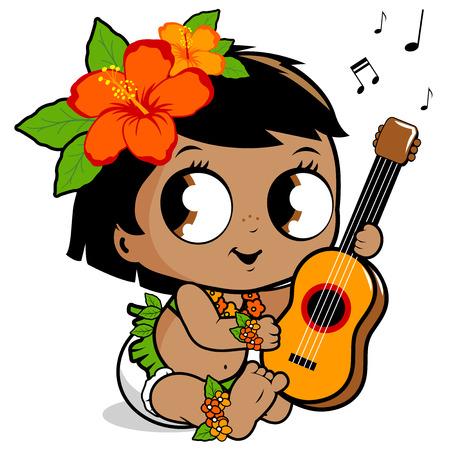 Hawaiian baby meisje het spelen van de ukelele