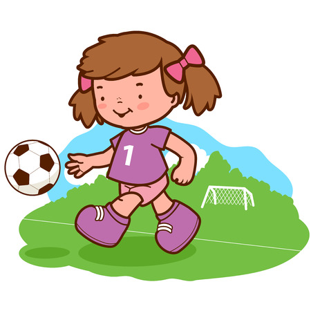 team game: Little girl soccer player kicking a ball on the playing field