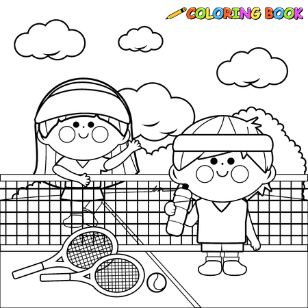 Children tennis players. coloring book page