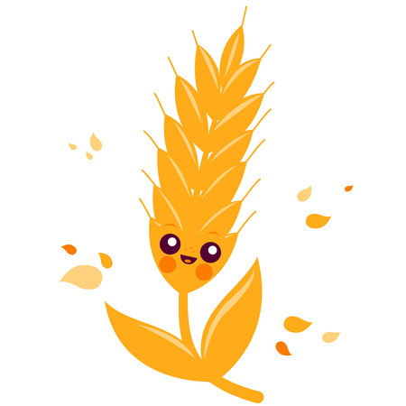plant seed: Cute wheat or barley character. Illustration