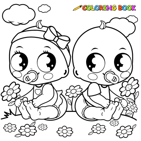 black baby boy: Babies playing outside. Black and white coloring book page.