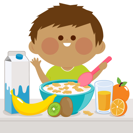 A boy is having his breakfast of cereal, milk, juice, and fruits.