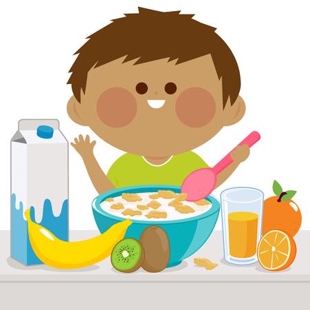 niños desayunando: Un niño está teniendo su desayuno de cereales, leche, jugo y frutas.