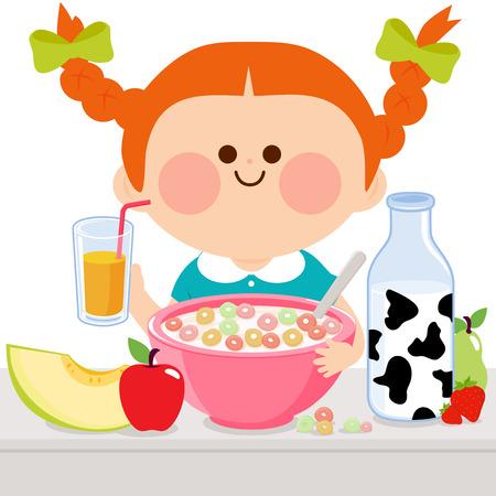 healthy kid: Girl having breakfast