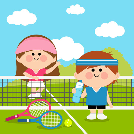 Tennis players children taking a break from game. Illustration