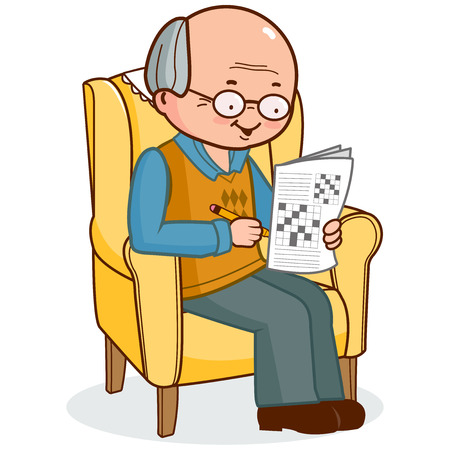 read magazine: Old man in armchair solving a crossword puzzle.