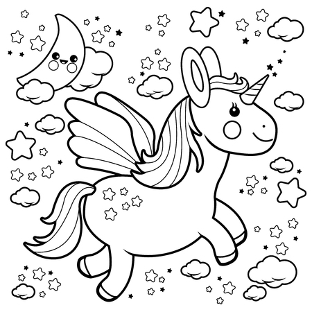Cartoon Unicorn Coloring Pages Images Stock Pictures Royalty