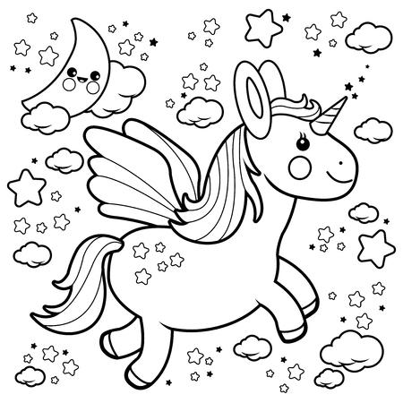 Lindo Sol, Luna, Estrellas Y Nubes. Ilustración En Blanco Y Negro ...