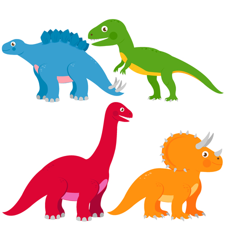 Vector illustration set of dinosaurs: Stegosaurus, Brontosaurus, apatosaurus, triceratops, tyrannosaurus Illustration
