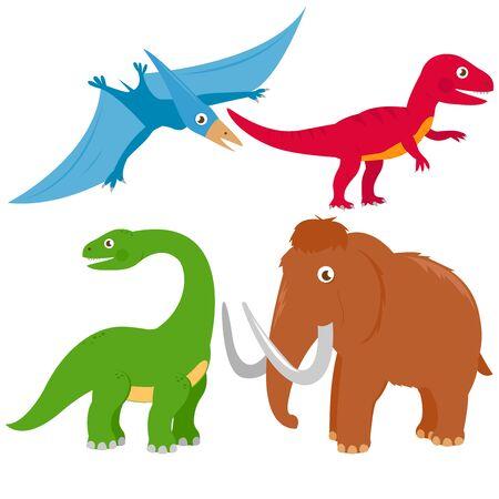 deinonychus: Vector illustration set of dinosaurs: pterodactyl, Brontosaurus, apatosaurus, mammoth, tyrannosaurus Illustration