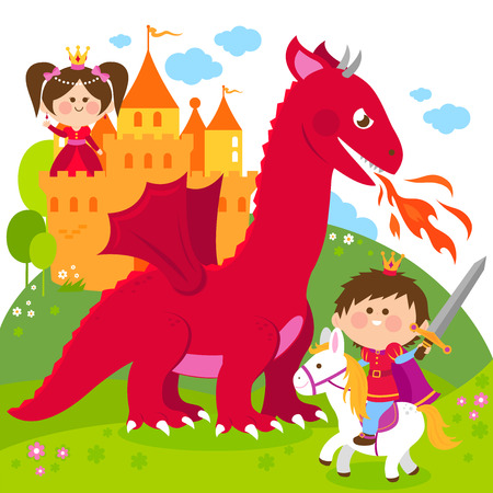 Prince fighting a fire breathing dragon and saving the beautiful princess at the tower. Çizim