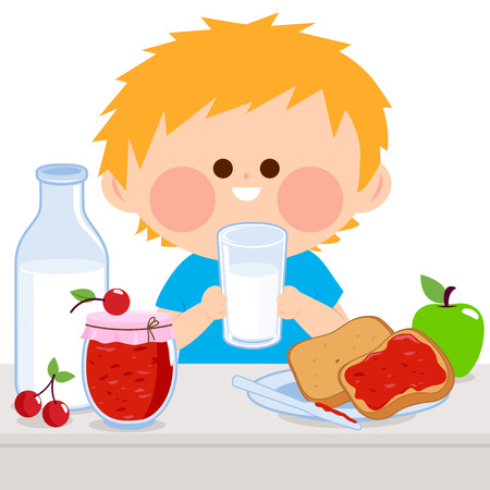 A boy is having his breakfast of milk, jelly, toast, and fruits. Illustration