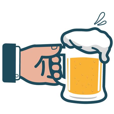 lager beer: Businessman holding cold beer
