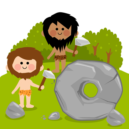 inventing: Cavemen carving a big stone and creating a wheel.