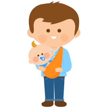 Father carrying his baby in a sling Illustration