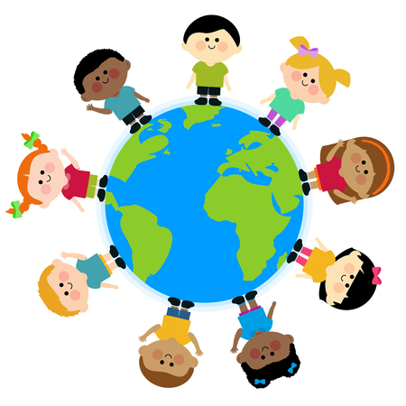 Multi ethnic group of children standing around the earth Illustration