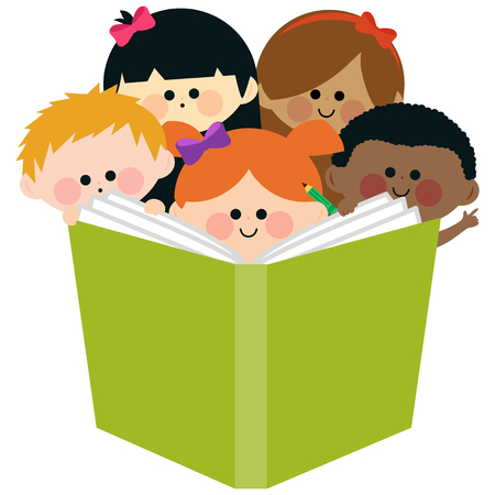 multi racial: Group of kids reading a book