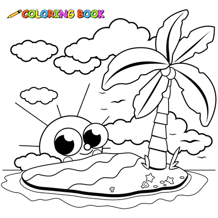 fruit cartoon: Island with a coconut palm tree, sun and sea shells. Coloring book page.
