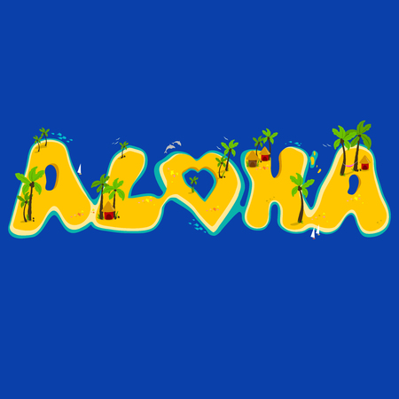 palm trees: Group of islands creating the aloha word. Aloha hand lettering with exotic islands.