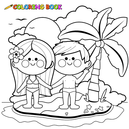 Boy and girl on an island. Black and white coloring book page
