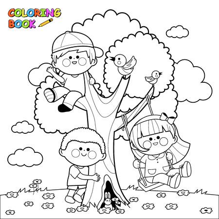 Grupo De Niños Leyendo Un Libro Página En Blanco Y Negro