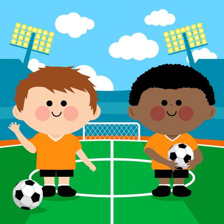 Children soccer players in a stadium. Vector illustration Illustration