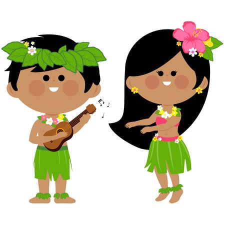 Niños hawaianos tocando música y bailando hula Ilustración de vector