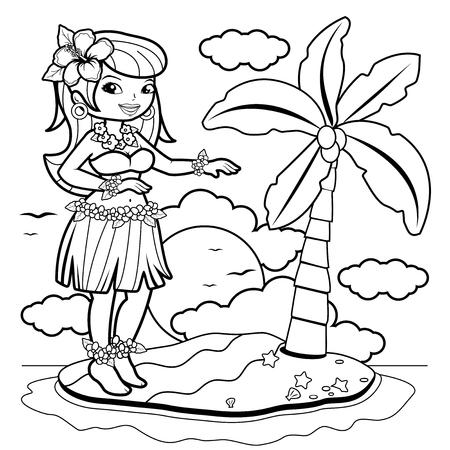 Plantas Tropicales Y Flores De Hibisco. Página Para Colorear En ...