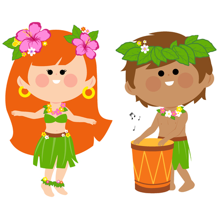 Hawaiian children playing music with a drum and hula dancing