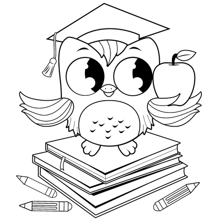 Owl with graduation hat and books. Black and white coloring book page.