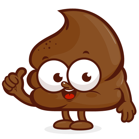turd: Vector cartoon illustration of a happy poop character.