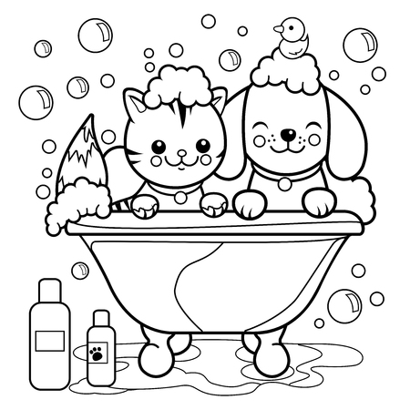 Dog and cat taking a bath. Coloring book page.