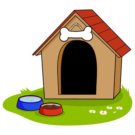 Ein Hundehaus und Schüsseln Wasser und Tierfutter.